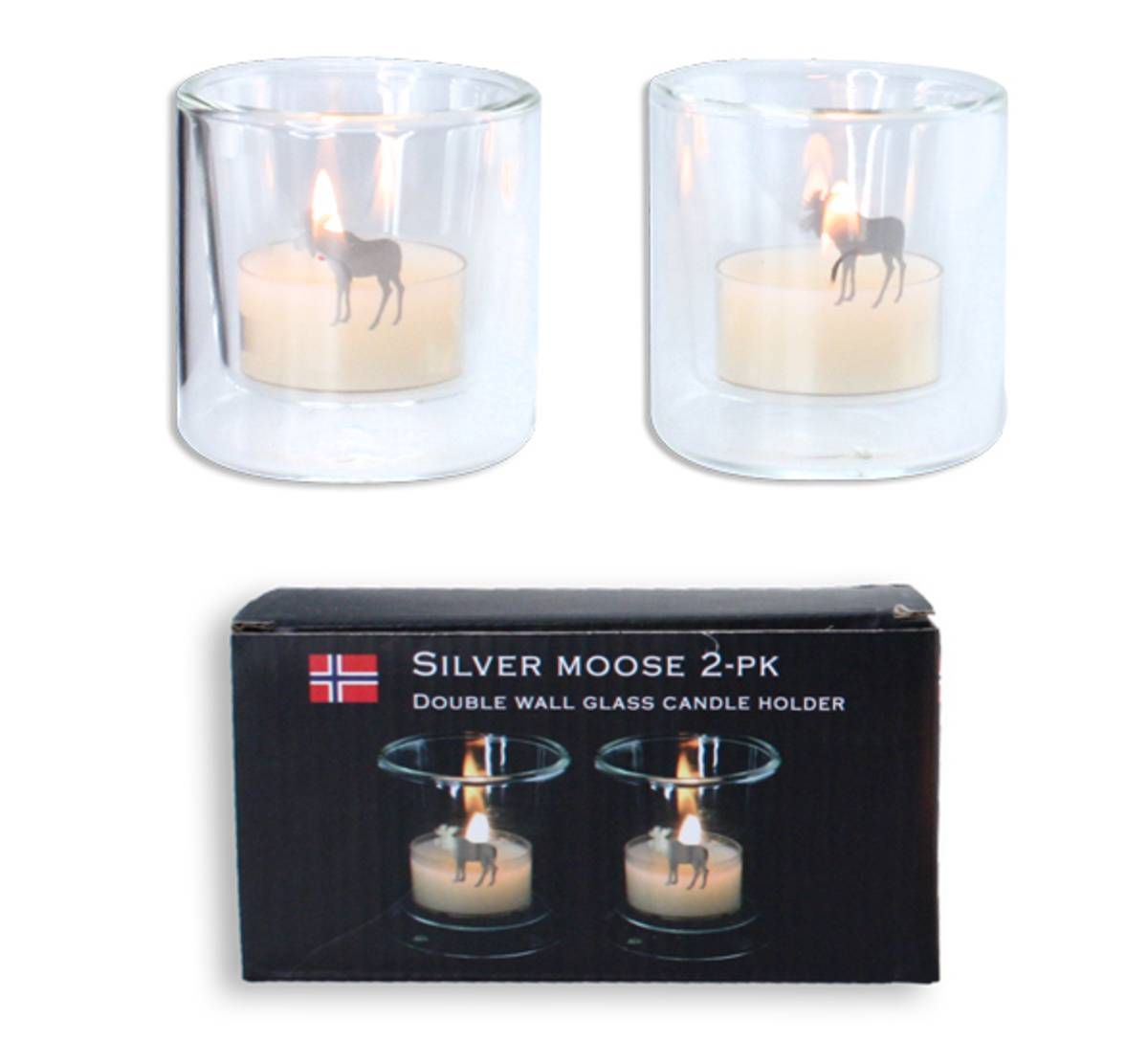 Silver Moose tealight holders