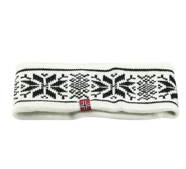 Image of Headband knitted starpattern white/black