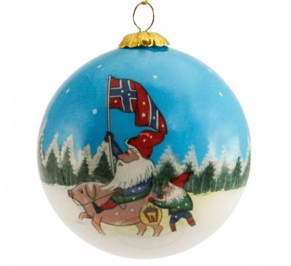 Image of Glass ball, Julen 2021, Norwegian flag