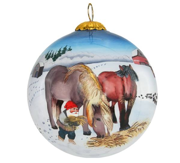Image of Glass ball, santa and two horses, 'Bergerlind'