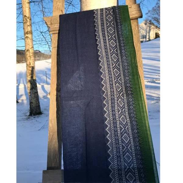 Image of Wool scarf Marius® pattern©  blue/white/green