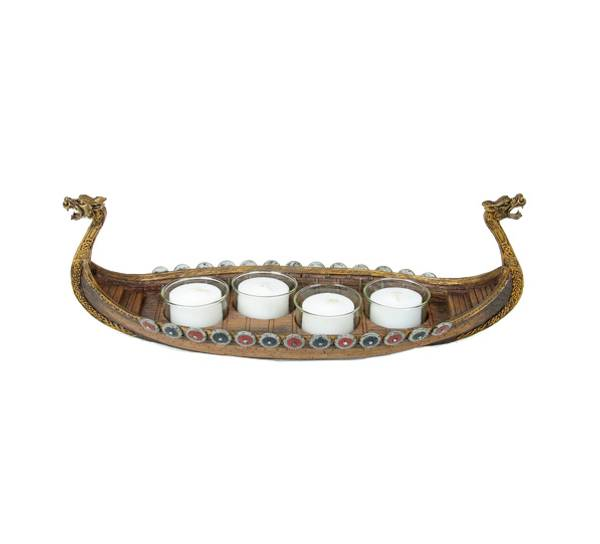 Image of Viking ship candle holder, 4 candles