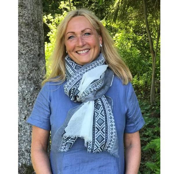 Image of Wool scarf, Marius®white/blue/grey
