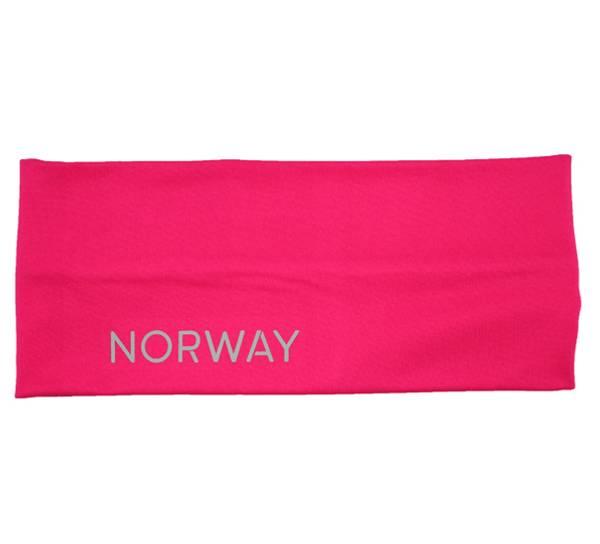 Image of Headband, reflective text; Norway pink/grey