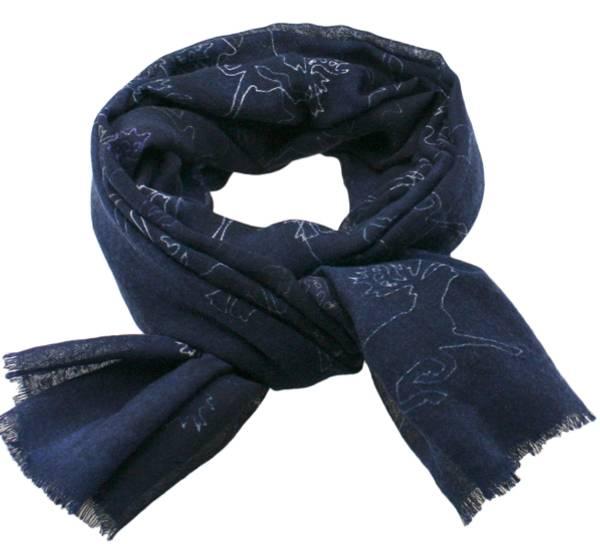 Image of Wool scarf Reindeer dark blue