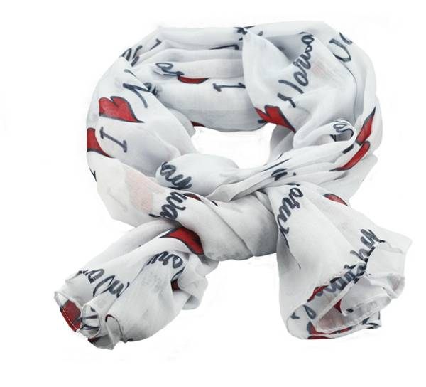 Image of Scarf I love Norway white/red/black
