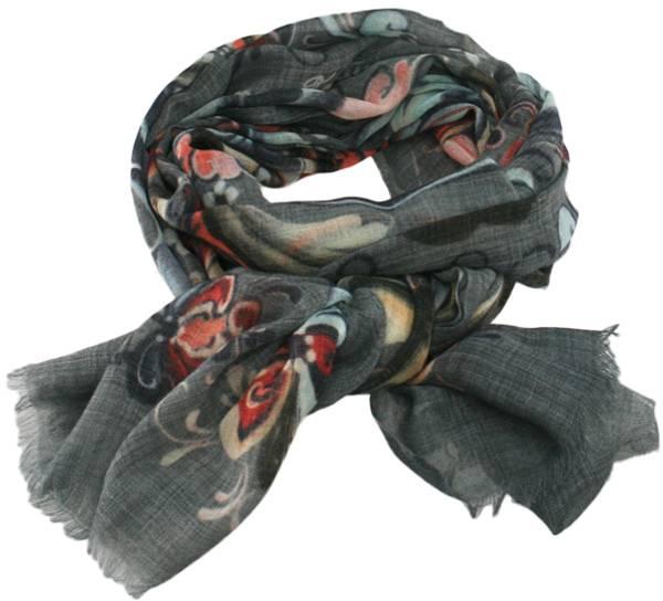 Image of Wool scarf Rosemaling grey