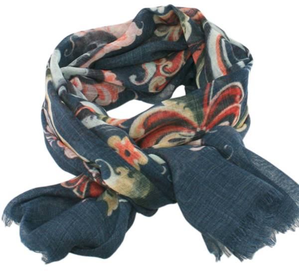 Image of Wool scarf Rosemaling blue