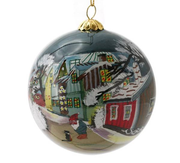 Image of Glass ball, Santa and cat
