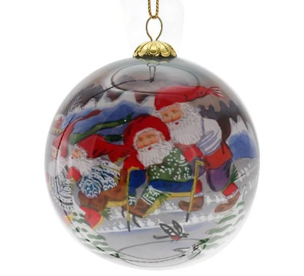 Image of Glass ball, Santas playing