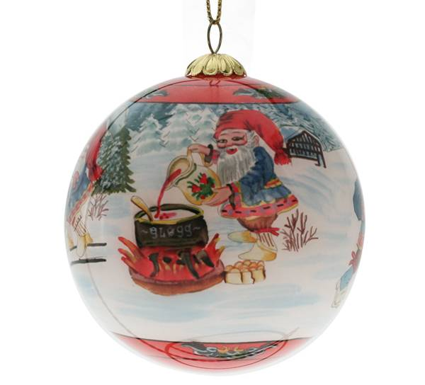 Image of Glass bell, santas playing in the snow,