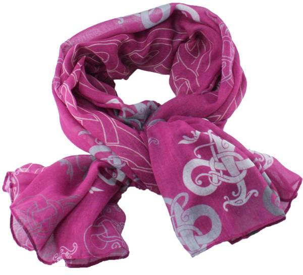 Image of Scarf vikingdragon ornaments deep pink/white/grey