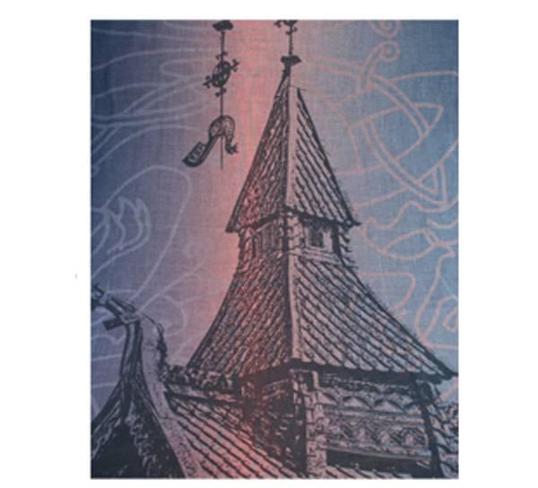 Image of Scarf, stave church design. Grey/peach
