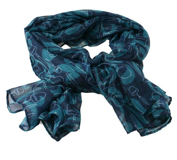 Image of Scarf with cheese slicer design petrol/dark