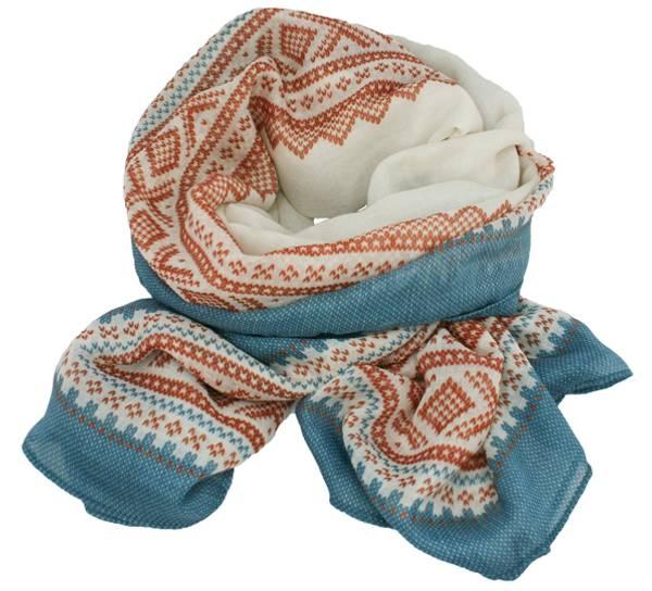 Image of Marius® scarf, fresh white/orange/petrol