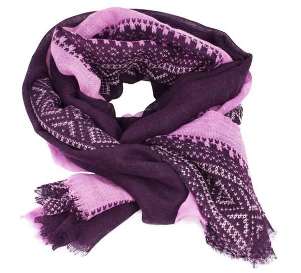 Image of Wool scarf, Marius®, purple/white/pink