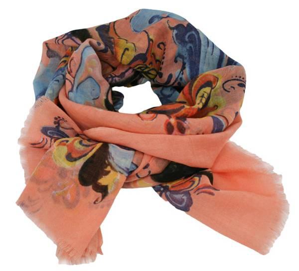 Image of Wool scarf Rosemaling grey dark apricot