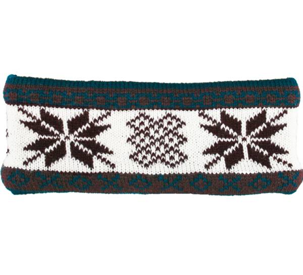 Image of Headband knitted starpattern petrol/white/red
