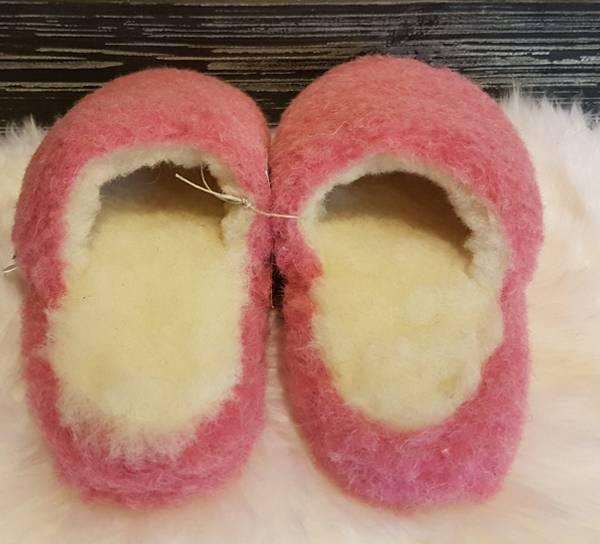 Image of Jopo wool slippers, pink,  100% merino wool