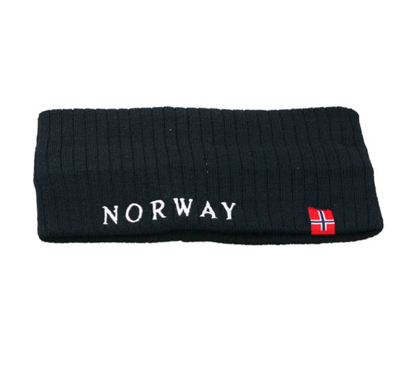 Image of Headband knitted with flag Norway dark navy blue