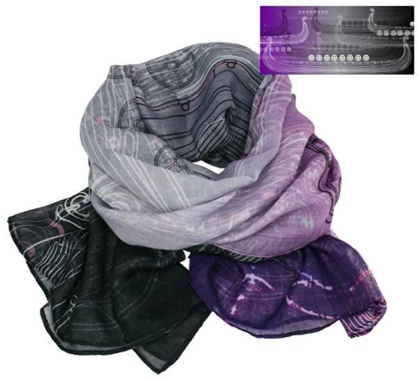 Image of Scarf, Viking ship, purple/grey/black