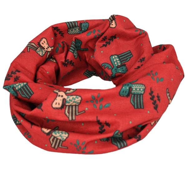 Image of Neck gaiter with playful moose  red/green