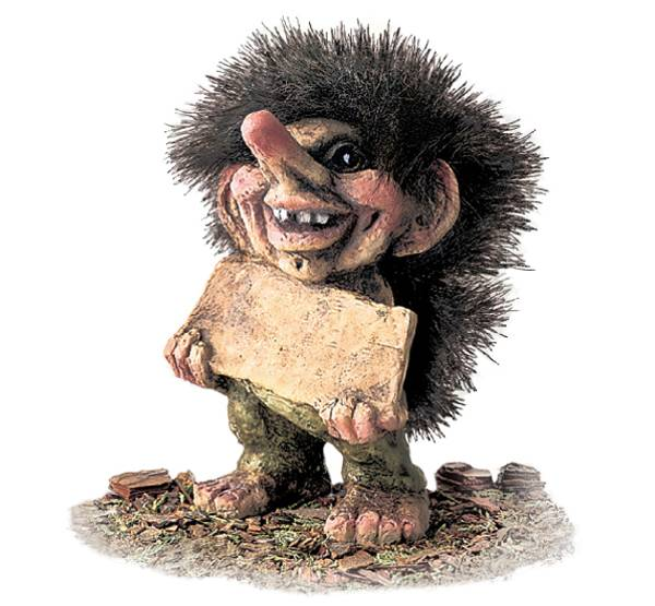Image of Troll, with plate for name (Troll # 186)