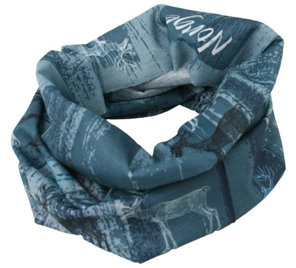 Image of Neck gaiter with old reindeer pattern petrol