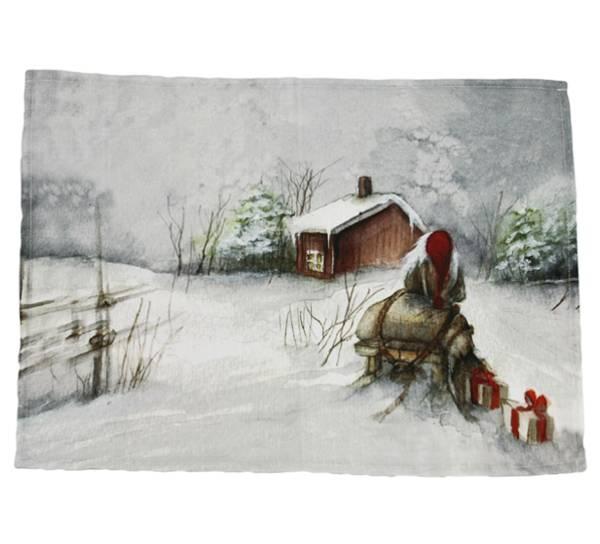 Bilde av Brikke Gammelnissen. Nisse med slede.