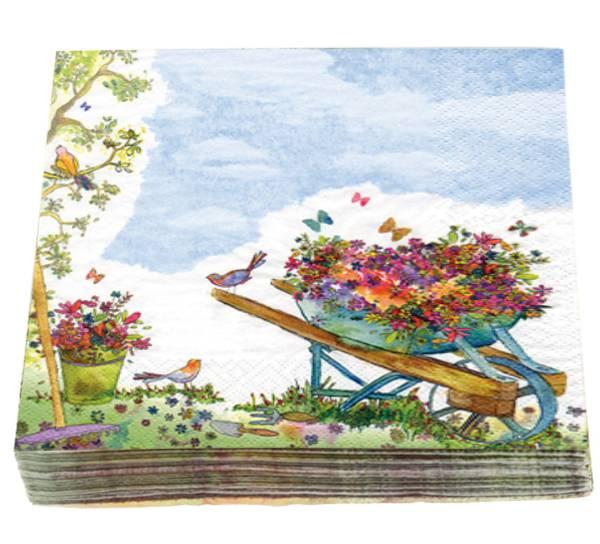 Bilde av Servietter, blomster i trillebår