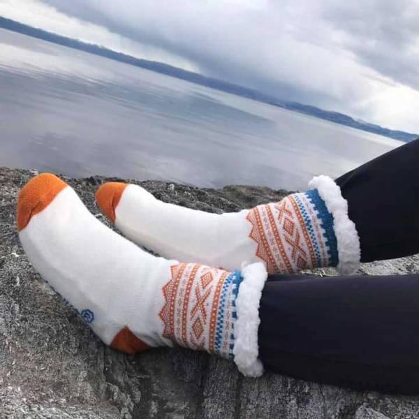 Bilde av Kosesokk m. Mariusmønster, hvit/orange/blå,