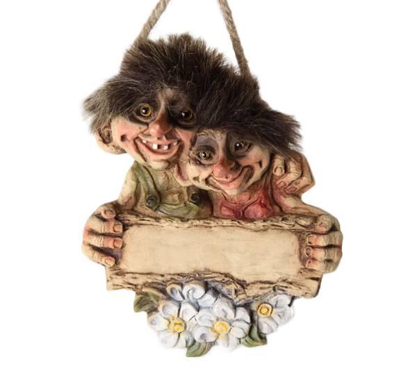 Bilde av Troll par velkomstskilt, uten tekst (Troll nr.