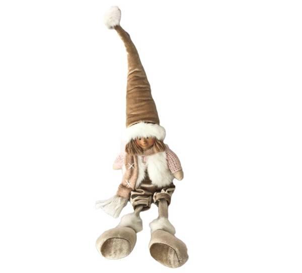 Bilde av Gutt med dinglebein, lys brun fløyelslue og