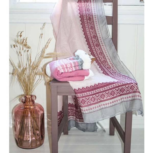 Bilde av Kosesokk m. Mariusmønster, lys rosa/hvit/grå,
