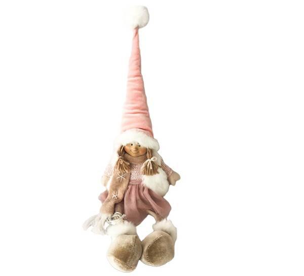 Bilde av Jente med dinglebein, rosa fløyelslue og tyll