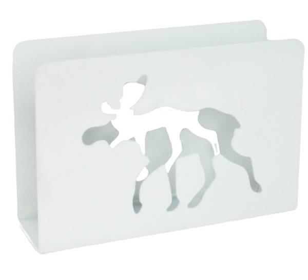 Bilde av Serviettholder med elg, hvit