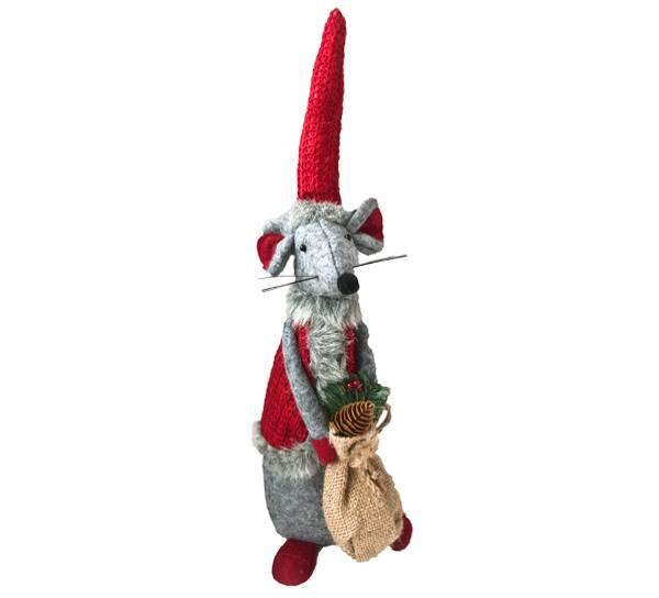 Bilde av Julemus med lang rød lue