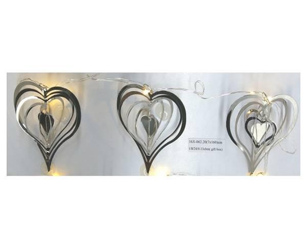 Bilde av Girlander, hjerter, sølv, medium, med LED-lys