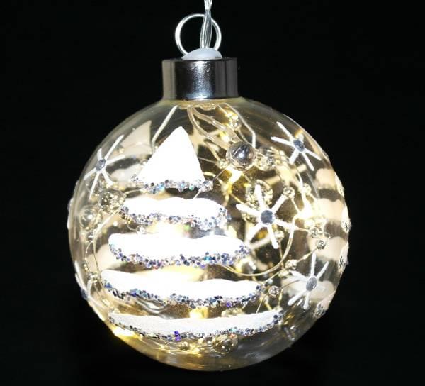 Bilde av Julekule med juletredesign og LEDlys