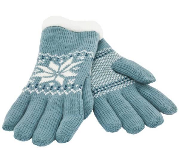 Bilde av Strikkevanter med fluffy for, blå-hvit