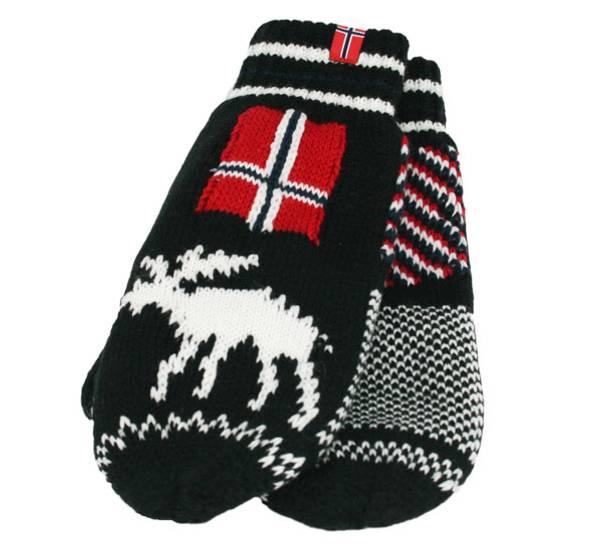Bilde av Strikkevotter elg m. flagg, sort/hvit