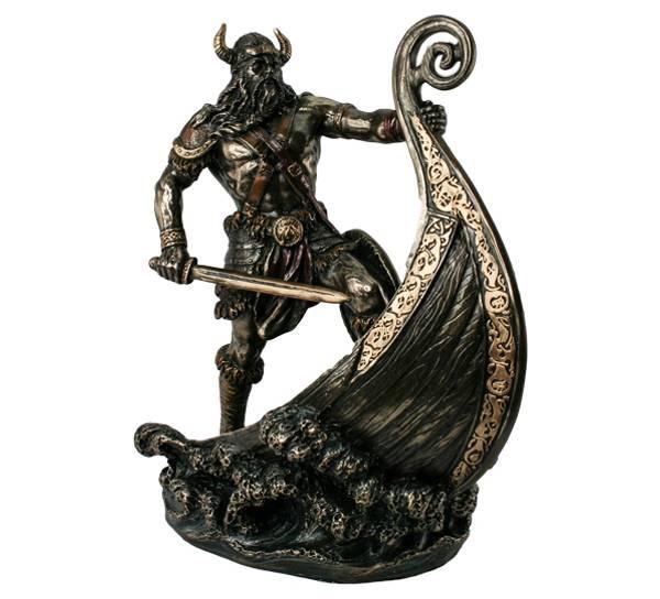 Bilde av Viking med vikingskip, bronsefarget