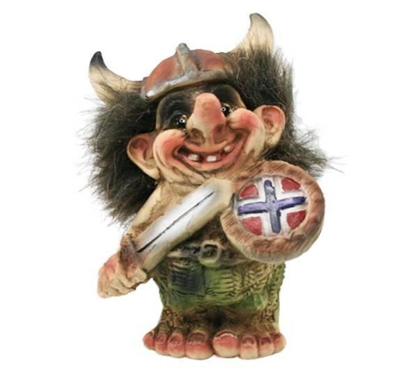 Bilde av Troll med vikinghjelm, skjold og sverd  (Troll