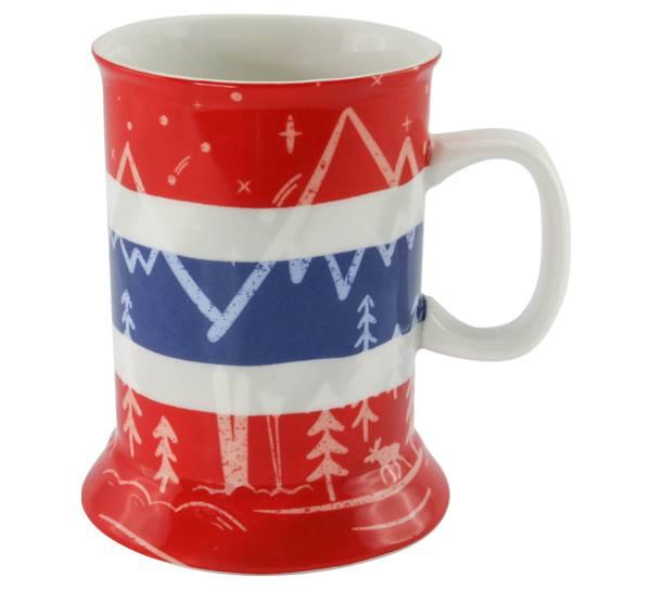 Bilde av Krus, norsk flagg og fjell