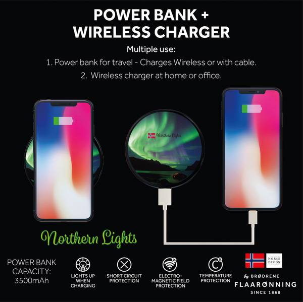Bilde av Power bank, Northern Lights, rund (nordlys)