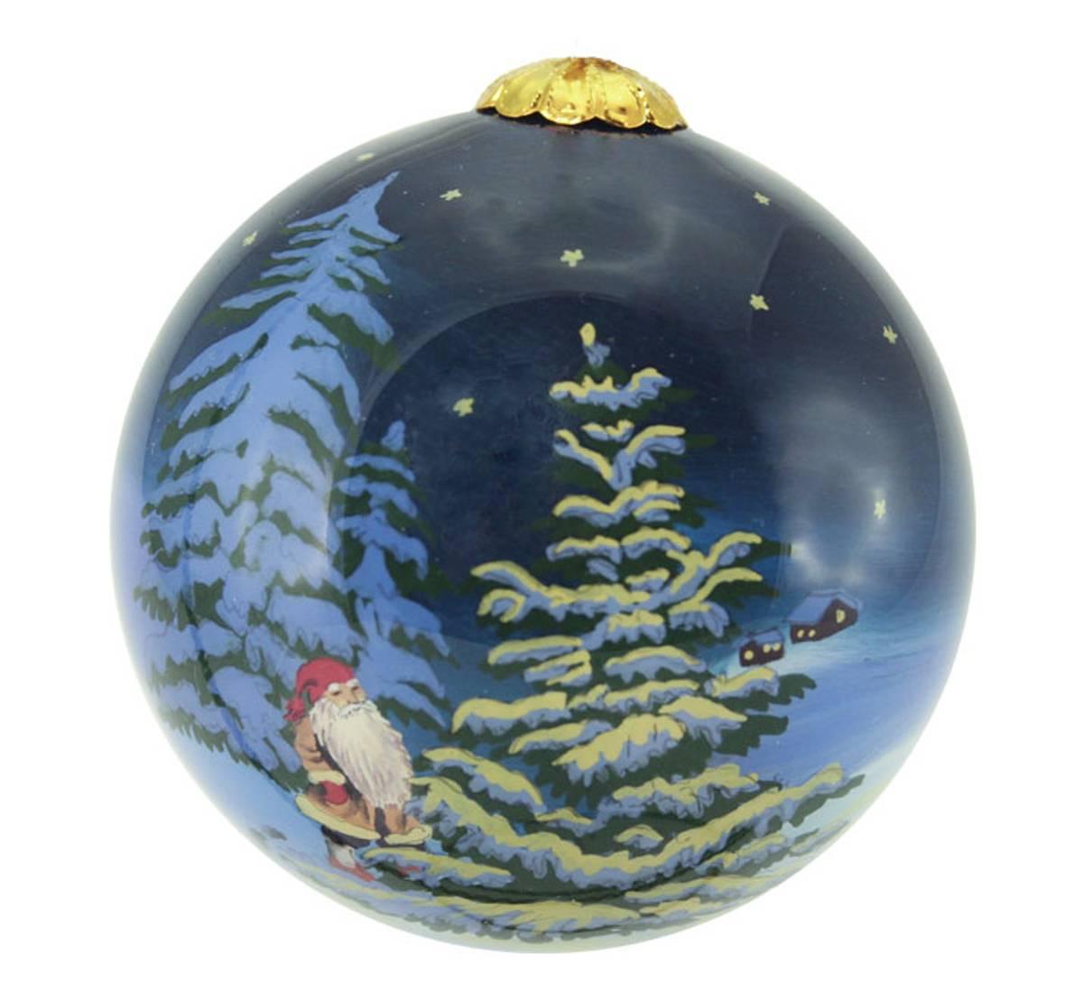 Julekule, håndmalt, Nissen i måneskinn