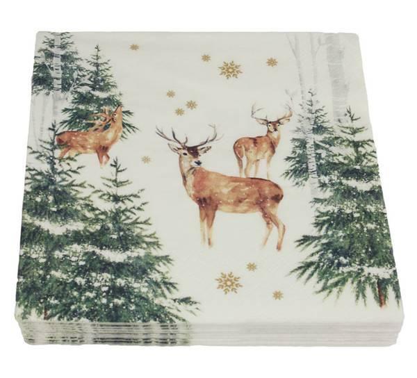 Bilde av Servietter, hjort og grønne trær