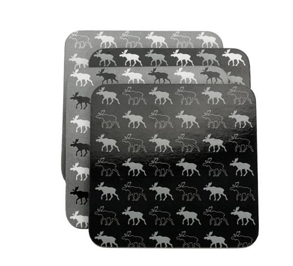 Bilde av Glassbrikker, elg sort/hvit , sett av 4.