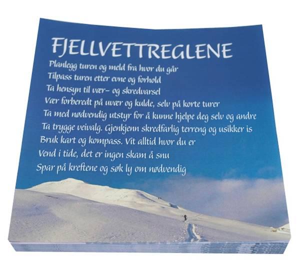 Bilde av Servietter med de nye fjellvettreglene