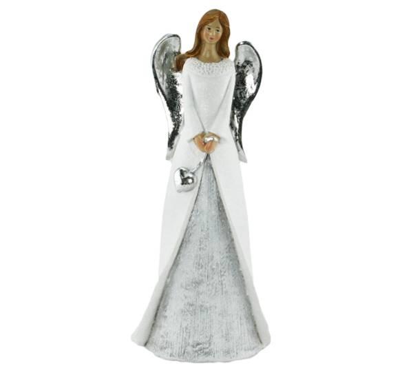 Bilde av Engel, hvit med hjerte og vinger i sølv